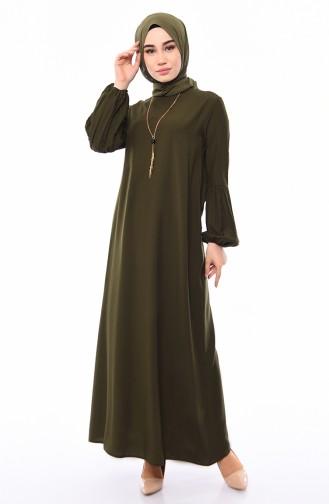 Viskon Kolu Lastikli Elbise 1203-06 Yeşil