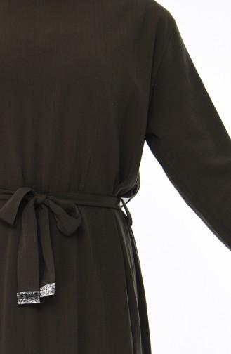 Sleeve Detail Belted Dress 0314-02 Khaki 0314-02