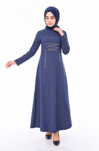 Kuş Gözü Detaylı Elbise 1181-01 Lacivert Hardal 1181-01