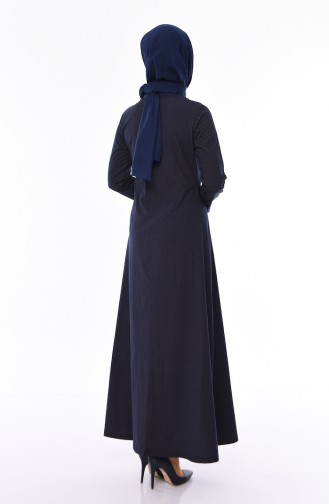 Kuş Gözü Detaylı Elbise 1181-05 Siyah 1181-05