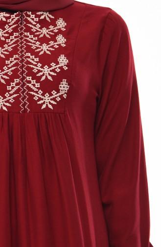 Önü Nakışlı Elbise 5027-03 Bordo