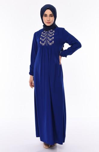 فستان بتفاصيل مطرزة 5027-04 لون ازرق 5027-04