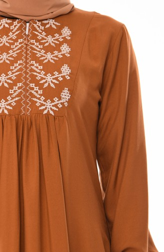 Front Embroidered Dress 5027-05 Tobacco 5027-05