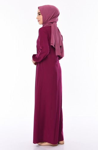 Front Embroidered Dress 5027-06 Plum 5027-06