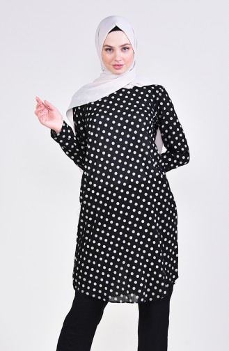 Polka-dot Tunic 1074-02 Black 1074-02