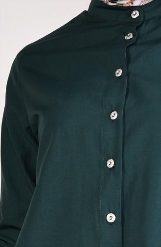 تونيك بتصميم ازرار امامية 12002-01 لون اخضر زمردي 12002-01