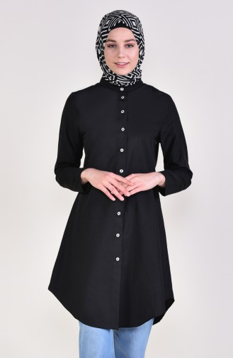 Front Button Tunic 12002-02 Black 12002-02