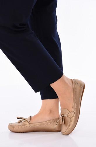 Gold Colour Woman Flat Shoe 120-01