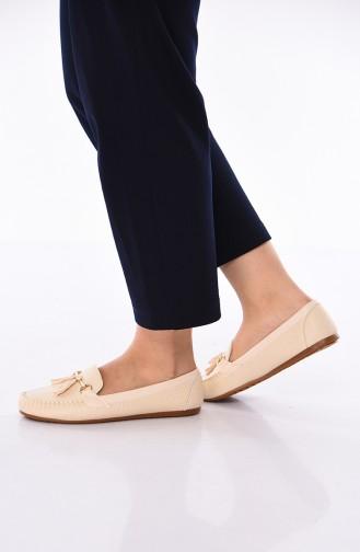 Beige Woman Flat Shoe 120-02