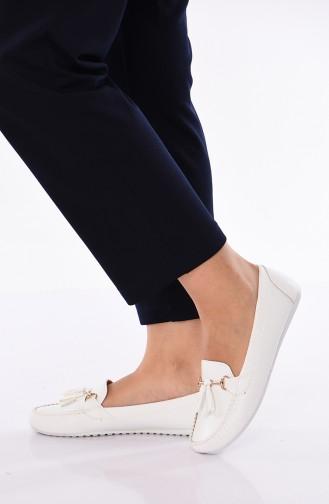 حذاء مسطح أبيض 120-03
