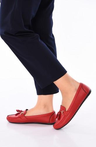 Red Woman Flat Shoe 120-04