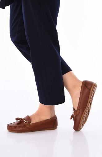 Tobacco Brown Woman Flat Shoe 120-07