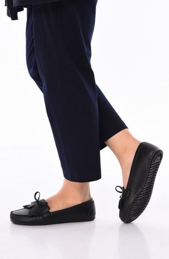 حذاء مسطح أسود 125-01