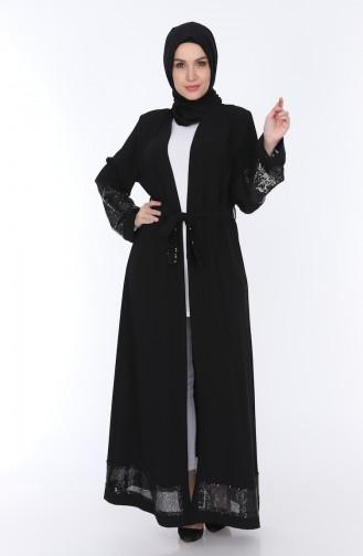 Sequined Belted Abaya 7835-01 Black 7835-01