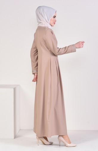 Embroidered Zippered Abaya 4442-01 Mink 4442-01