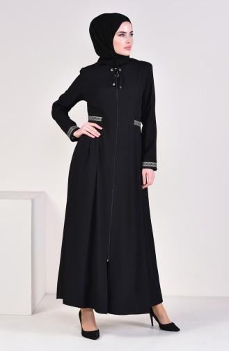 Embroidered Zippered Abaya 4442-03 Black 4442-03