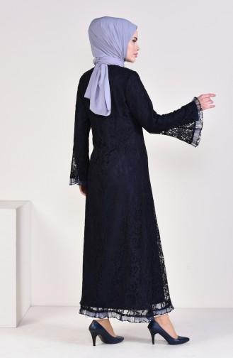 Lace overlay Zippered Abaya 35877-02 Navy Blue 35877-02
