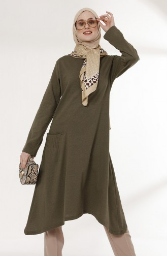 TUBANUR Pocket Detailed Tunic 3055-06 Khaki 3055-06