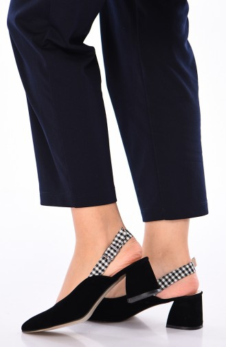 Women´s Suede Heeled Shoes 220K-02 Black 220K-02