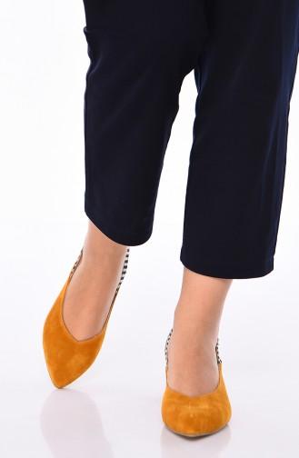 Bayan Süet Topuklu Ayakkabı 220K-03 Hardal 220K-03