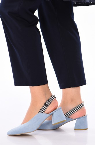 Women´s Suede Heeled Shoes 220K-04 Baby Blue 220K-04