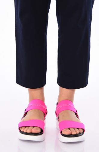 Bayan Dolgu Topuk Sandalet 408K-02 Fuşya