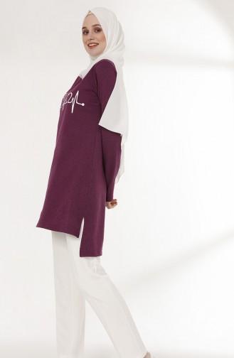 توبانور تونيك غير مُتماثل الطول بتصميم مُطبع 3059-03 لون بنفسجي 3059-03