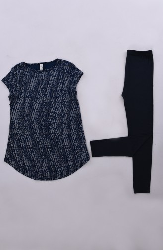 Patterned Leggings Pajamas Set  7001-01 Navy Blue 7001-01