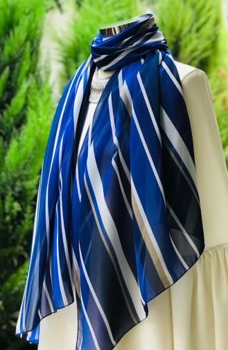 Stripe Patterned Chiffon Shawl 60910-01 Parliament White 60910-01