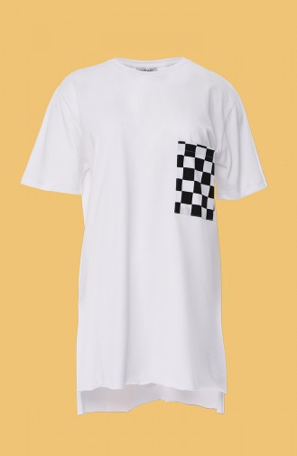 T-shirt Basic avec Poches 0011-02 Blanc 0011-02