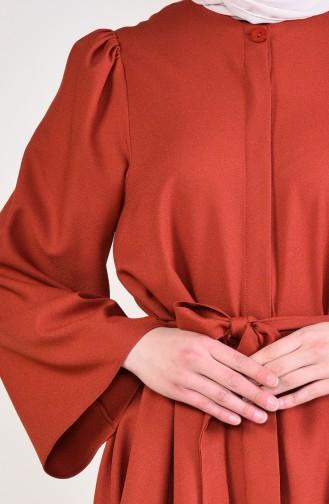 Kuşaklı Tunik Pantolon İkili Takım 0218-10 Kiremit