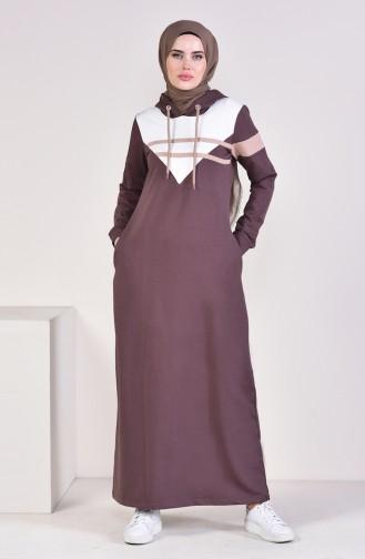 فستان رياضي موصول بقبعة 9054-01 لون بني 9054-01