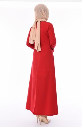 Chain Detail Dress 1181-02 Red Black 1181-02