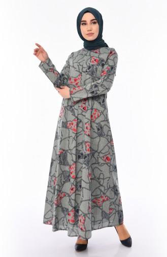 A Pleat Printed Dress 1188-02 Khaki 1188-02
