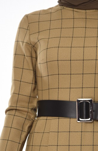 Checkered Belted Dress 2069-01 Khaki 2069-01