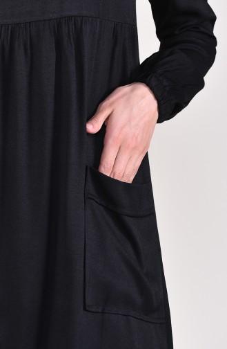 Büzgülü Cepli Tunik 1191-01 Siyah