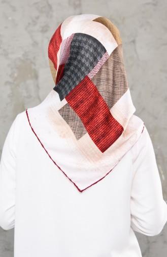 شال رايون بتصميم مطبع 2236-01 لون خمري 2236-01