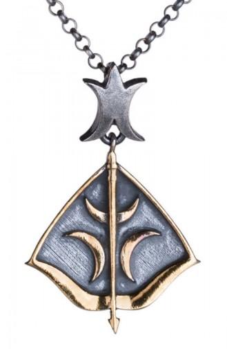 Diriliş Ertuğrul Hilal Motifli Gümüş Ok Yay Kolye DİRİLİS-015
