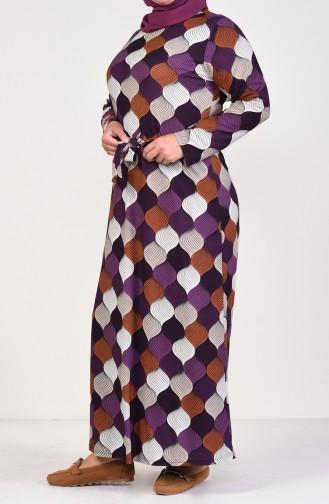 Büyük Beden Desenli Kuşaklı Elbise 4555J-01 Mor 4555J-01