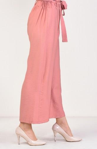 Pantalon Large a Ceinture 2579-01 Rose Pâle 2579-01