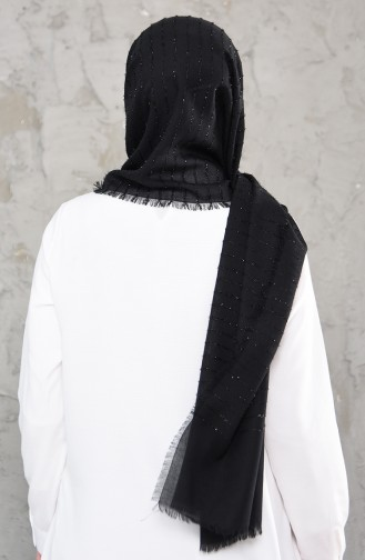 Silvery Cotton Shawl 4334-01 Black 4334-01