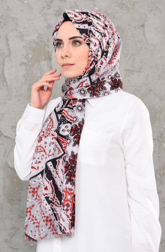Patterned Cotton Shawl 4337-01 Red Gray 4337-01