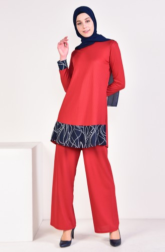 Corded Tunic Pants Binary Suit 0614A-03 Fuchsia 0614A-03