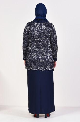 Navy Blue Islamic Clothing Evening Dress 6229-01