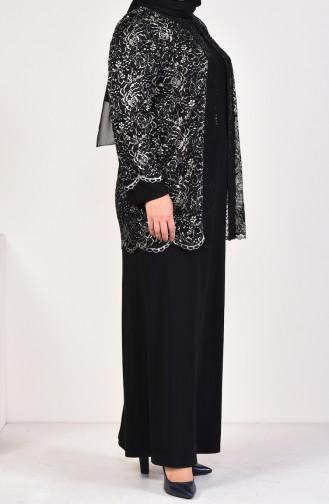 Large Size Stone Printed Jacket Dress Binary Suit 6229-03 Black 6229-03