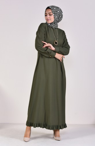 Viscose Ruffled Dress 1202-05 Green 1202-05