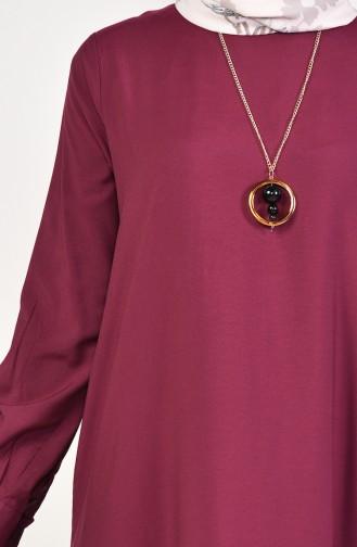 Viskon Eteği Büzgülü Elbise 1202-07 Vişne