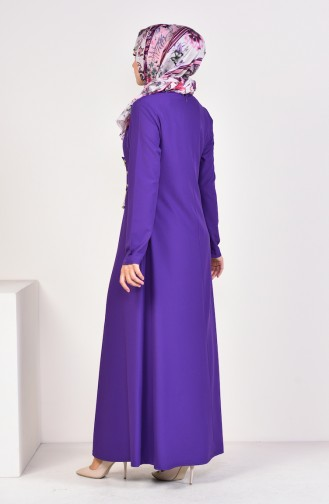 Chain Detailed Plain Dress 1189-03 Purple 1189-03
