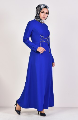 Chain Detailed Plain Dress 1189-05 Saks 1189-05