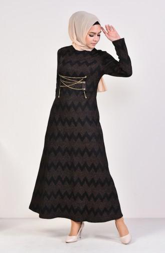 Eyelet Detailed Patterned Dress 1190-01 Black 1190-01